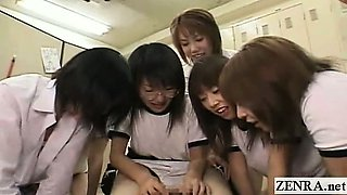 Subtitled CFNM Japanese schoolgirls locker room harem