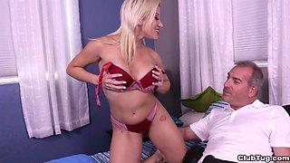 Cristi Ann shows her boobs and strokes his cock until orgasm