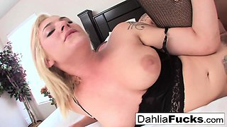 Gonzo sex on a big bed with Dahlia Sky and Richie Black