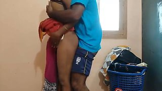 Cheating housewife surprised by to salesman satisfied During Laundry