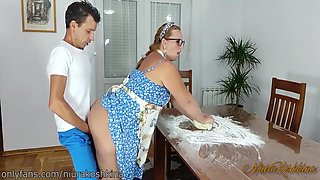 Pregnant Cooking Mom Gets A Fuck From Her Son Right In Her