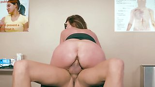 Busty brunette doctor in fishnets fucks hung patient