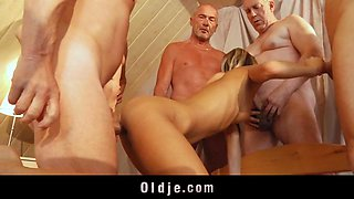 6 old dicks are hard fucking a young ass and pussy