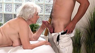 Busty blonde granny blows