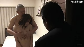 Japanese husband makes his 45 year old wife try to be fucked by other men