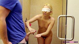 Horny stepson is fucking sexy blind folded stepmom Aaliyah Love