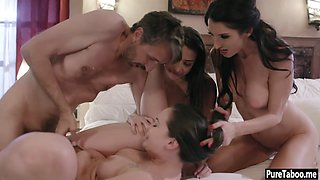 Insane foursome sex between freaking open minded family