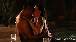 Erotic fucking in a pool with MILF pornstar Simony Diamond