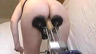 Wife testing a homemade fucking machine