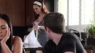 Bigtitted ginger stepmom fucks in taboo trio