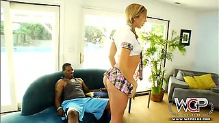 Sexy slutty schoolgirl seducing two big black guys