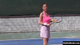 Tennis court blowjobs and pussy pounding for lovely hotties