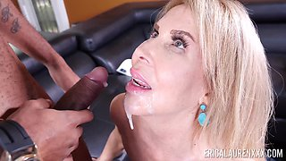 Rapacious blonde housewife Erica Lauren stands on knees to give nice head