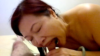 Chinese mature hooker blow job sex in hairy pussy then anal