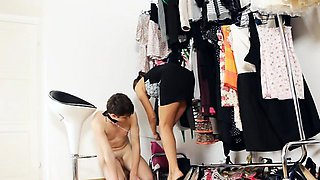 Sub tries how his domme's favorite high heels feel on his