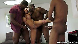 Several insatiable black dudes fuck fake tittied blond whore Melissa Lynn