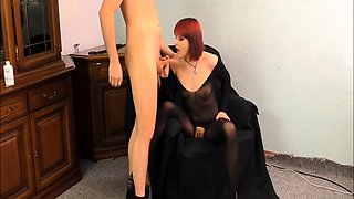 Wild babe in nylons and high heels takes a fist in her pussy