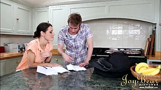 Awesome raven haired housewife leans over the kitchen counter to be fucked