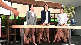 Elegant Oriental babes enjoying wild group sex in the office