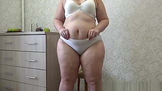 urinating young beautiful bbw in white panties with hairy pussy
