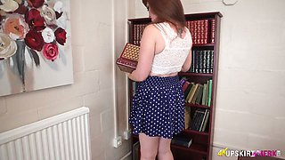red thongs look good on naughty bookworm with juicy booty Zoe Page