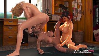 Futanari schoolgirl threesome hd animation