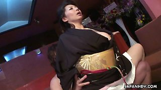 Two smoking hot Japanese girls enjoy a wild raunchy threesome