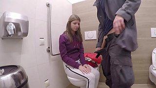 Teen pleasures his monster cock in the public bathroom