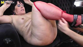 Old floozy mother receives drilled by her toyboy