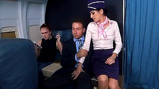 In flight hardcore sex with the horny stewardess
