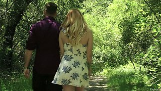 Romantic boyfriend licks and fucks pussy of Adria Rae among beautiful flowers