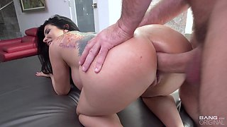 Shameless giant breasted brunette housewife Romi Rain is hammered doggy