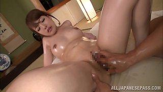 Asian babe Iroha Sagara gets her body oiled and screwed POV