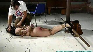 Long hard hogtie on the floor