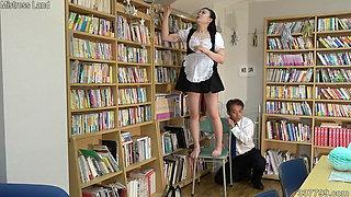 Japanese maid costume girl punishes masochistic man