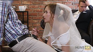 Useless groom watches his slim bride riding strong cock definitely wild