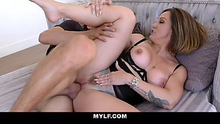 Dude is surprised by his stepmom and that curvy MILF wants some fresh dick