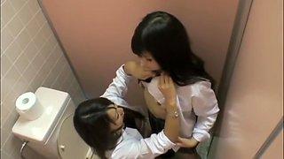 Asian schoolgirls wild lesbian session on toilet room spycam VSPDS547.SD