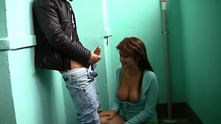 Maddie in public sex porn scene in toilet with a really horny pair