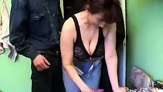 Stacked Russian milf gets drilled by a group of young studs