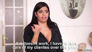 Slutty busty office worker Sheila Ortega provides horny man with BJ