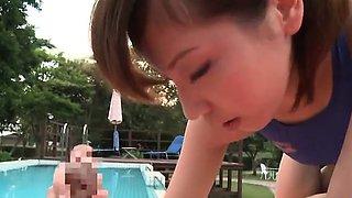 Miyuki Yokoyama rides cock at the pool