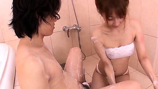 Tiara Ayase works dick in the bathroom while on cam  - More