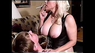 Goddess Sondra force fucks collage boy sex slave smoking in