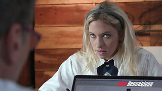 College chick in short skirt Khloe Kapri provokes her step dad to fuck her in the kitchen