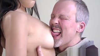 Teen gobbles old dick