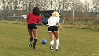Sporty girls Naomi Nevena and Vanessa Decker hook up on the soccer field