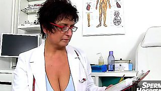 Uniform milf Gabina doctor patient cfnm handjob