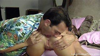 Older guys enjoy a young horny brunette