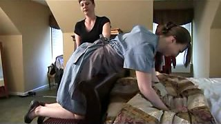 Big ass maid gets some hot booty spanking